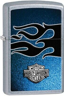 ZIPPO Harley Davidson with Blue Flames Black Background Street Chrome 28822 NEW