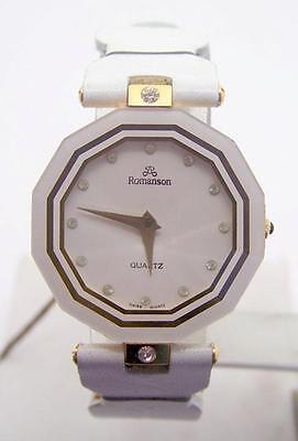 New 18k Gold Plated ROMANSON Swiss Ladies Watch w/White Genuine Leather R9005M