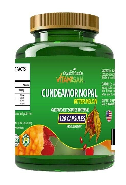 Capsulas de Nopal CUNDEAMOR  2 frascos con 120 capsulas c/u. Regula el Azucar. 4