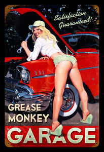 GREASE-MONKEY-HILDEBRANDT-METAL-SIGN-PINUP-GARAGE-ART-SIGNED-GREG-FREE-PRINT