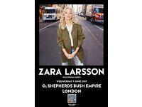 2 X ZARA LARSSON TICKETS - LONDON O2 SHEPHERDS BUSH EMPIRE - STALLS STANDING