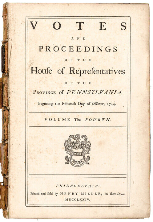 1744-1758 Province Pennsylvania Passed Acts of Assembly Contains 856 pages!