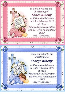 """50 LARGE 6"""" X 4"""" PERSONALISED DESIGNER CHRISTENING INVITATIONS FOR GIRL OR BOY"""