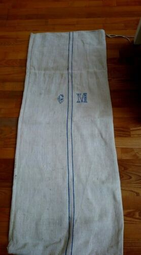 Antique vintage GRAIN SACK feedsack blue striped Monogram  hemp linen GRAINSACK
