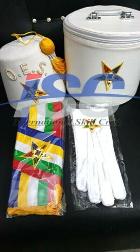 OES Order Of Eastern Star Fez, Case, Gloves, and Sash
