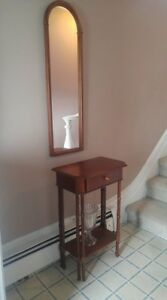Wooden Hall Table and Mirror Set