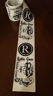 Personalized *Black White Monogram Grosgrain Ribbon*FREE SHIPPING