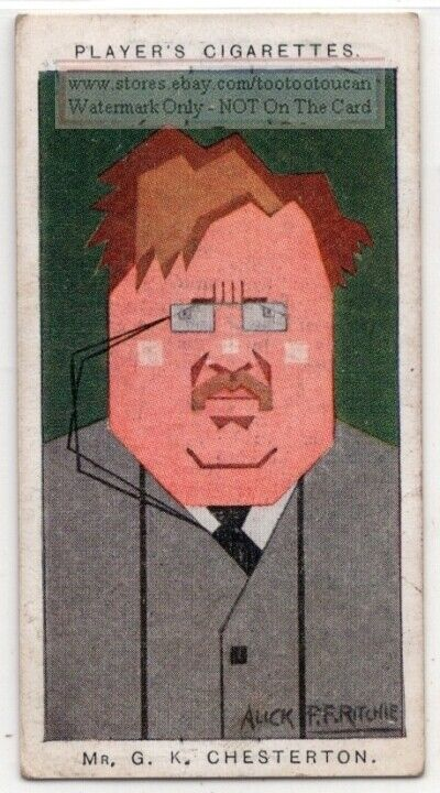 G.K. Chesterton English Writer Philosopher Prince Of Paradox 1920s Trade Ad Card