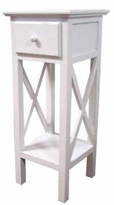 Landhaus Telefontisch weiß 66cm - Holz Beistelltisch Telefon Konsole Blumentisch - Holz Telefon Tisch