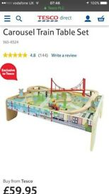 Wooden Train Set and Table- New
