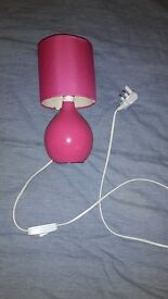Pink ceramic bedside lamp