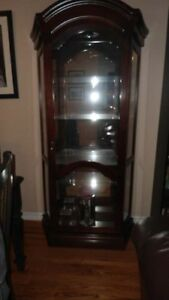 Antique Curio with Glass Shelves and Lights