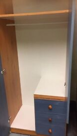 Blue wardrobe ideal for a child's bedroom £40.00