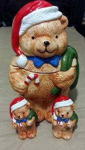 Adorable Christmas Bear Cookie Jar with Salt & Pepper Shakers