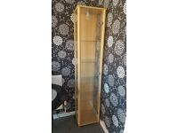 Beech Glass Display Cabinet with interior Light & 4 Glass Shelves.
