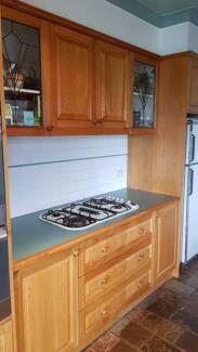 Kitchen cabinets + sink + stove + dishwaher
