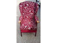 2x patterned fabric armchairs