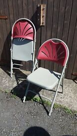 Set Of Eight Robust, High Quality, Folding Chairs, Metal Frame, Grey/Red