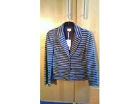 East womens grey and black striped Jacket