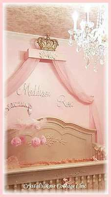 Statue Day Sale Shabby Pink Rose & Gold Bed Crown Canopy Teester Princess Compartment