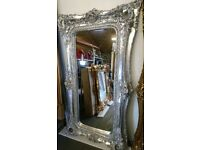 Platinum silver full length twin framed mirror