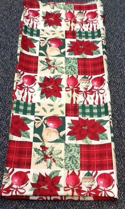Vintage Christmas Tablecloth Poinsettia Ornament Holly Berry Red Green Tan Ecru