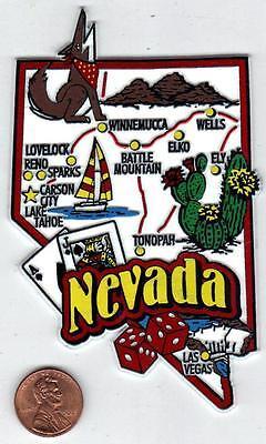 JUMBO NEVADA STATE MAP    MAGNET  7 COLOR  CARSON CITY  RENO  LAS VEGAS  SPARKS