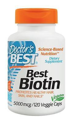 Biotin (Vitamin B7) - 120 - 5000mcg Vcaps by Doctor's Best - Hair, Skin & Nails