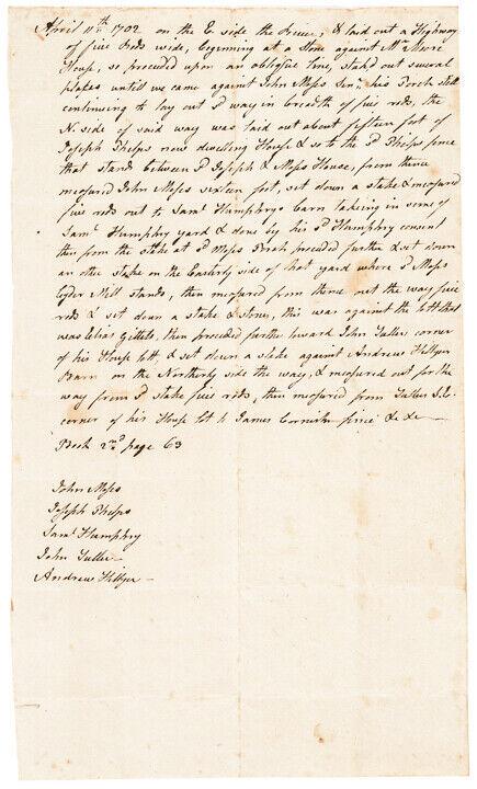1702 Late Pilgrim Era Colonial Manuscript Related Connecticut Highway Document