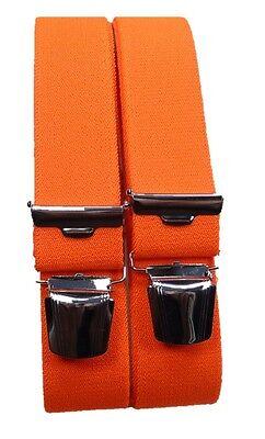 Hosenträger, neon orange, 4 extra starke ABC-Clips, 35mm breit, 70cm-200cm lang,