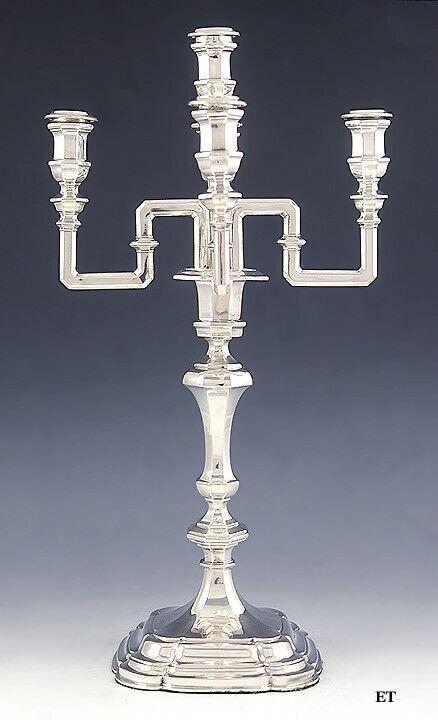 """Antique c1870 European Silver 5 Light Convertible Candelabra/Candlestick 17.5"""""""