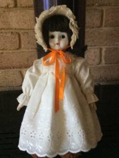 Vintage 1970  Bisque Procelain Doll with Cloth Body