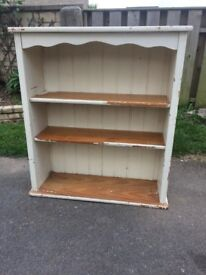 Solid pine bookshelves half painted project!