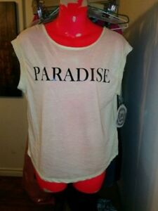BRAND NEW RACHEL ROY 'PARADISE' SLUB TOP TEE (PALE YELLOW) SZ L