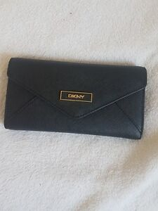 DKNY Black Saffiano Leather Envelope Wallet