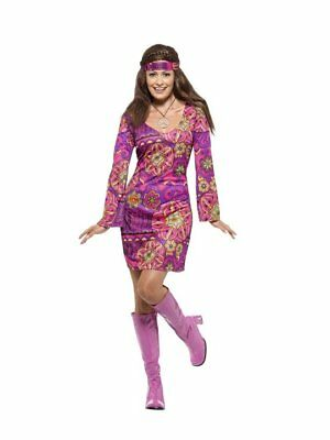 WOMENS 60S 70S SWINGING RETRO DISCO GO GO GROOVY WOODSTOCK CHICK HIPPIE COSTUME