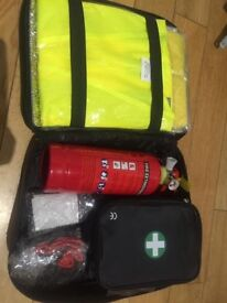 first aid kit with a fire extinguisher