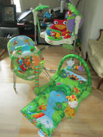 Sauteuse et tapis d'éveil fisher price rainforest.Super conditin