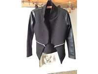 Black Quilted and Faux Leather Jacket 10-12