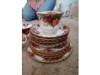 Old country roses, bone china tea set