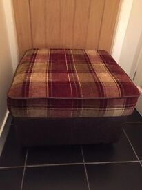 Tartan and Brown Leather Footstool