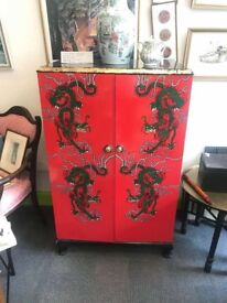 Hand painted Chinese dragon wardrobe unit