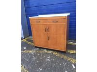 Vintage Pine Kitchen Cabinet/ Larder with Formica Worktop - Retro and Vintage