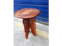 Pretty Vintage Carved Indian Folding Table/ Plant Stand