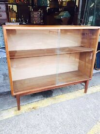 Beautiful Mid Century Retro Teak Glazed Bookcase