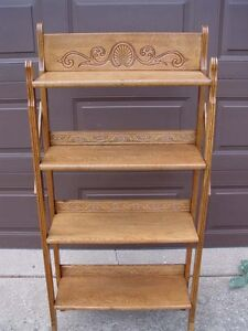 ANTIQUE OAK FOLDING 4 SHELF BOOKCASE