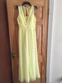 Yellow embellished pleated maxi dress