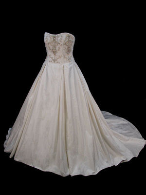 Amazing Couture Dupioni Silk Paloma Blanca Bridal Ball Gown Wedding Dress 14