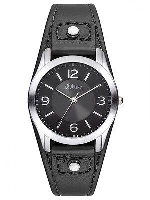 s.Oliver Uhr SO-2945-LQ Damenuhr Jugenduhr analog Leder schwarz Neu gebraucht kaufen  Sankt Peter-Ording