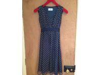 Seraphine navy dotty maternity dress size 12